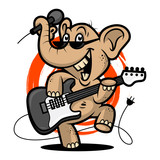 Elephant plays guitar