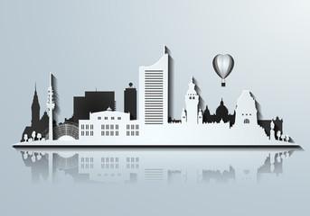 Silhouette von Leipzig 3D Look