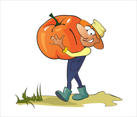 Gardener  With A Pumpkin