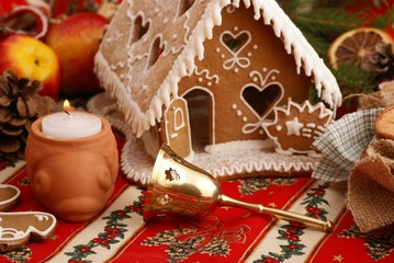 Gingerbread house and Christmas decorations