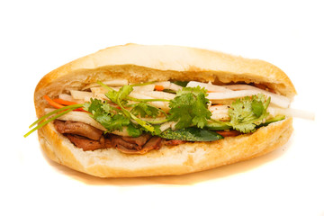 Vietnamese Bahn Mi Pork Sandwich on White Background
