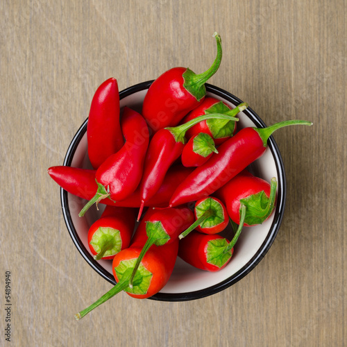 bowl of red chili peppers, top view