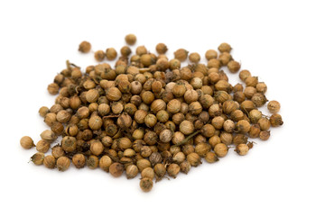 coriander seeds isolated on white