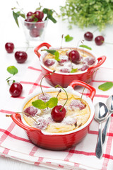 Clafoutis with cherries in ramekin