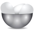 Steel bowl with eggs