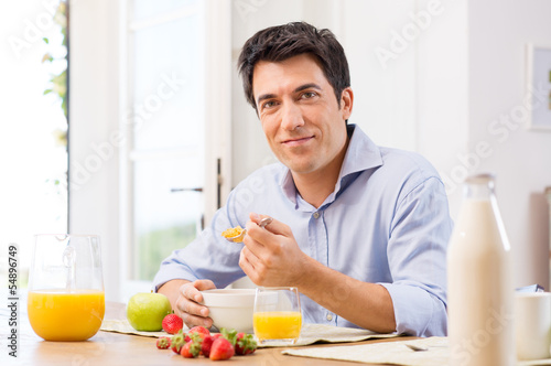 Man Having Breakfast