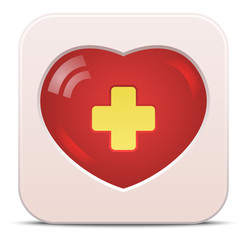 Vector medical icon with heart and cross