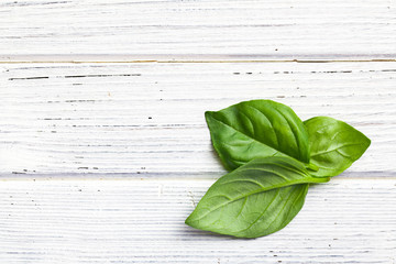 basil leaves on kitchen table