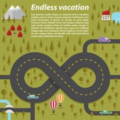 Endless vacation. Vector illustration.