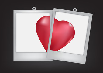 two heart in frame  black  background
