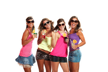 four girls fun with a drink, portrait in studio