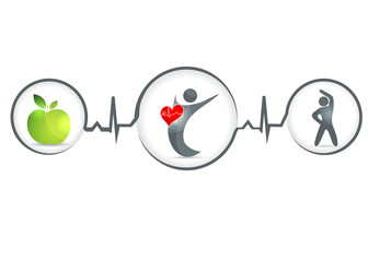 Healthy food and fitness leads to healthy heart and life.