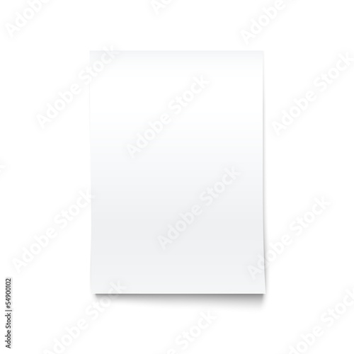 Isolated on White Blank Office Paper Mock-Up.