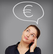 Business woman thinking about euro currency on grey background