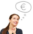 Thinking business woman with euro sign in bubble above isolated