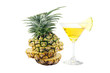 Pineapple slices and Pineapple juice in a glass.