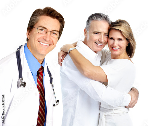 Doctor and elderly couple.