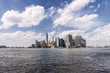 Skyline of low Manhattan from the boat