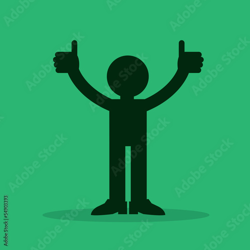 Figure silhouette with two thumbs up