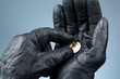 Hands with leather gloves holding money