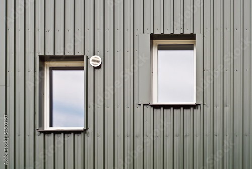 Detail of two windows of an ecological house