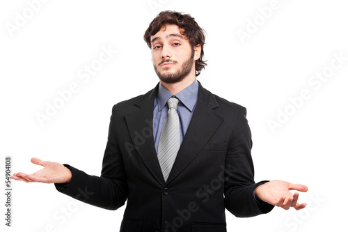 Young businessman with open arms