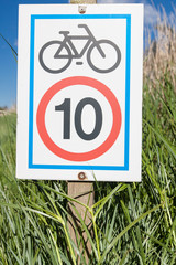 Information signboard about bicycle speed limitation