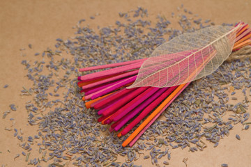 lavender incense sticks with dried  lavender