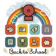 Back to School Icon Background Illustration with School Bell