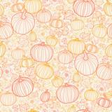 Vector Thanksgiving line art pumkins seamless pattern background