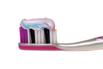 Zahnbürste mit Zahnpasta isoliert