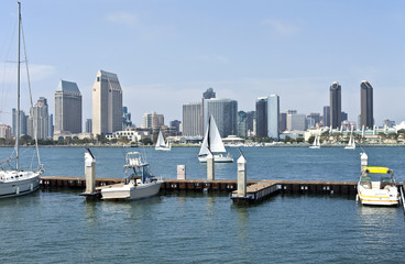 San Diego skyline and a small marina.