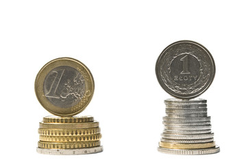 Stack of money euro and zloty coins. Currency rate comparison