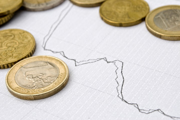 Euro coins and stock chart as currency exchange concept