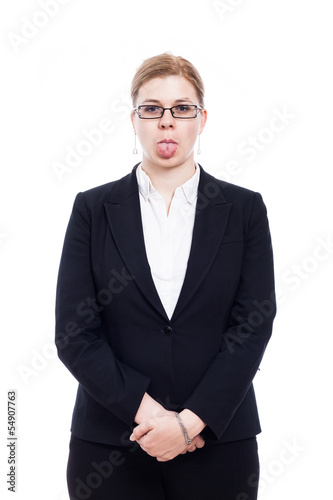 Businesswoman sticking out tongue