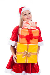 Thankful Christmas woman holding presents