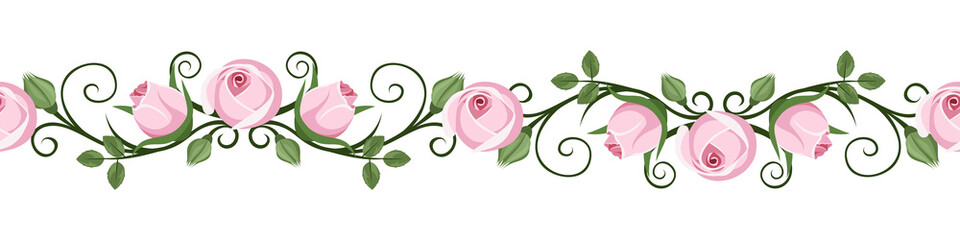 Vintage horizontal seamless vignettes with pink rosebuds. Vector