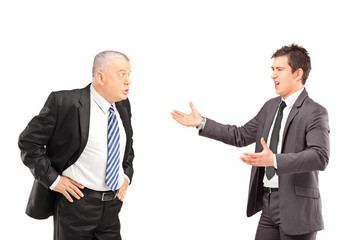 Two angry business colleagues during an argument