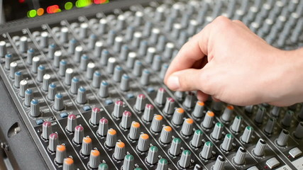 turning knobs on sound board shallow Depth of Field