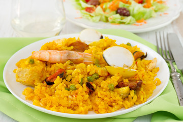 paella in white plate