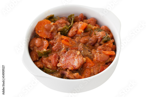 feijoada in white bowl