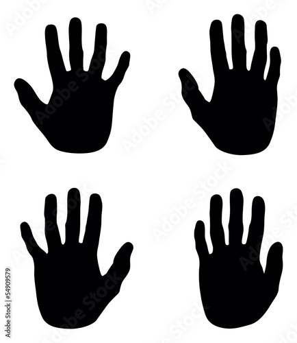 a set of black abstract hand silhouettes