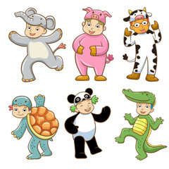 Kid with animals costume