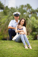 Military family in the park