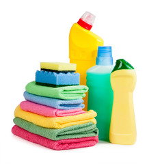 Bottles of chemicals, sponges for washing dishes and napkins for