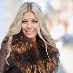 Closeup fashion beautiful woman portrait with long hair