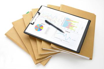 ビジネスイメージ―ファイルと資料とボールペン