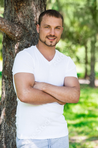 Handsome man in the park