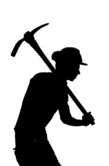 silhouette of a Mine worker with helmet