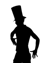 silhouette of a Handsome man with hat